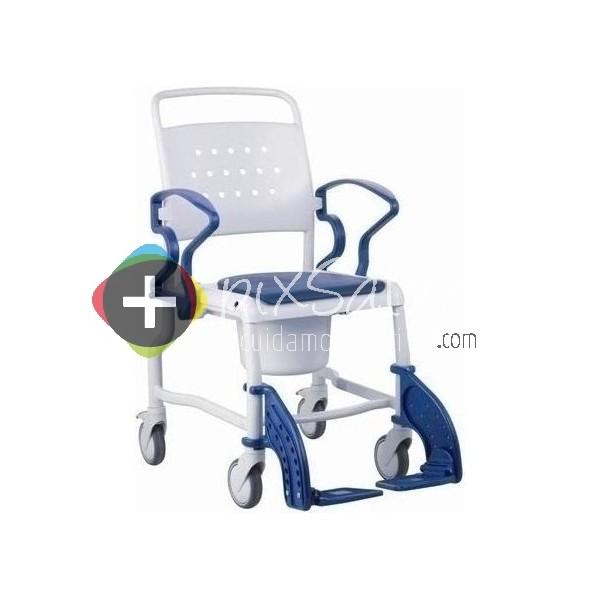 Silla De Baño Con Inodoro:Silla de baño con inodoro, ruedas y reposabrazos abatibles