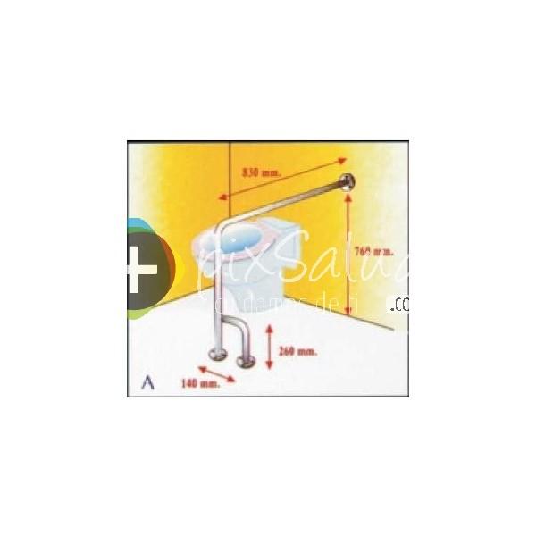 Tamano Baño Minusvalidos:Barra de seguridad/ asidero en acero inox para baño en L a suelo